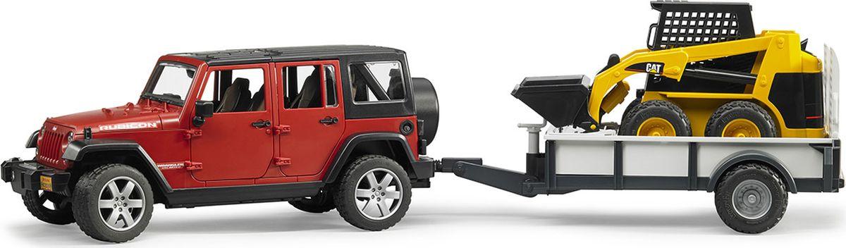 Bruder Внедорожник Jeep Wrangler Unlimited Rubicon c прицепом-платформой и колесным мини-погрузчиком Cat bruder внедорожник jeep wrangler unlimited rubicon c прицепом платформой и колёсным мини погрузчиком cat 02 925