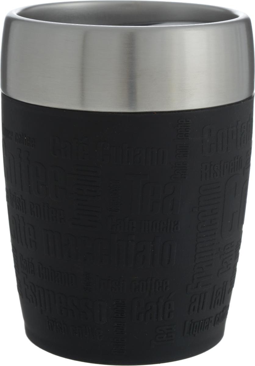Термостакан Emsa, цвет: черный, стальной, 200 мл514514Термостакан Emsa удобно взять с собой на работу, в школу или в поездку. Вакуумный стакан на 100% герметичен. Изделие имеет колбу из нержавеющей стали, благодаря чему температура содержимого сохраняется долгое время. Стакан удобно держать благодаря силиконовой накладке с рельефными надписями. Изделие открывается поворотом крышки. Подходит для автомобильного подстаканника, таблеточных эспрессо-машин и кофейных автоматов, также подходит для мороженого. Высота стакана: 10,5 см. Диаметр (по верхнему краю): 8 см.
