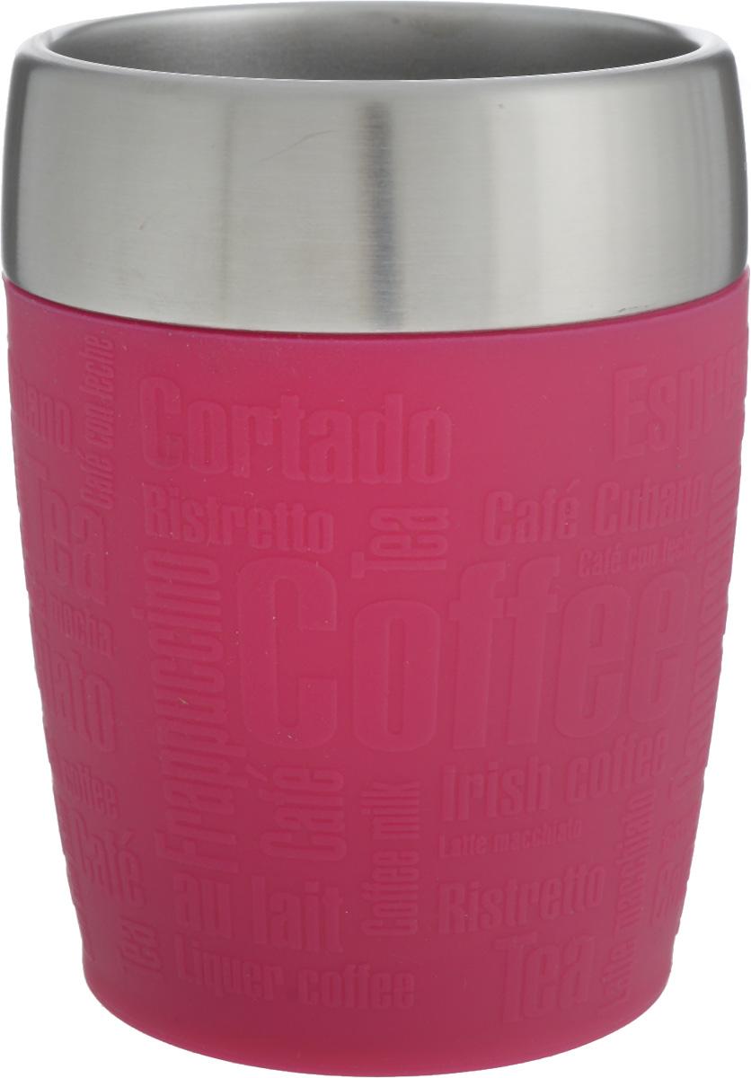 Термостакан Emsa, цвет: розовый, стальной, 200 мл514517Термостакан Emsa удобно взять с собой на работу, в школу или в поездку. Вакуумный стакан на 100% герметичен. Изделие имеет колбу из нержавеющей стали, благодаря чему температура содержимого сохраняется долгое время. Стакан удобно держать благодаря силиконовой накладке с рельефными надписями. Изделие открывается поворотом крышки. Подходит для автомобильного подстаканника, таблеточных эспрессо-машин и кофейных автоматов, также подходит для мороженого. Высота стакана: 10,5 см. Диаметр (по верхнему краю): 8 см.