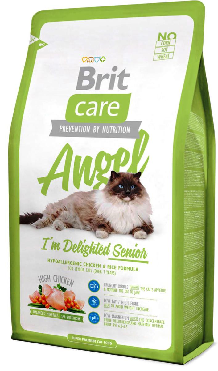 Корм сухой Brit Care Angel Delighted Senior для пожилых кошек, с курицей и рисом, 2 кг132607Высококачественный гипоаллергенный сухой корм Brit Care Angel Delighted Senior с курицей и рисом предназначен для пожилых кошек (старше 7 лет). Полнорационный сбалансированный корм с отличной усвояемостью содержит тщательно подобранные ингредиенты, способствующие укреплению здоровья пожилых кошек, а также замедляющие процесс старения. Корм имеет высокое содержание мяса - жизненно необходимого источника питательных веществ и аминокислот. Корм гипоаллергенный, в составе отсутствует соя, кукуруза, пшеница, глютен. Особенности: Специальный комплекс антиоксидантов защищает от свободных радикалов и замедляет старение. Эффективная регулировка веса за счет высокого содержания протеинов и клетчатки и низкого содержания жира.Идеальное соотношение Омега-3 и Омега-6 жирных кислот с органическим цинком и медью для здоровья кожи и улучшения качества шерсти. MOS (маннаноолигосахариды) поддерживают иммунитет, обеспечивают оптимальный баланс микрофлоры, заботятся о здоровье пищеварительного тракта, уменьшают количество патогенной микрофлоры в кишечнике. FOS (фруктоолигосахариды) создают защитный слой на стенках толстого кишечника, увеличивают полезную кишечную микрофлору, поддерживают ее функционирование, чем укрепляют иммунитет. Забота о ротовой полости и зубах: удобные гранулы для пожилых кошек, содержание гексаметафосфата натрия, предупреждающего образование зубного камня. Сбалансированный минеральный состав и крушевидная облепиха поддерживают функции почек и состав мочи, гарантируют профилактику мочекаменной болезни. Состав: дегидрированная курица (18%), рис, куриное филе (15%), дегидрированная индейка (12%), куриный жир (консервирован токоферолами), сушеные яблоки, пивные дрожжи, лососевое масло, куриная печень (2%), глюкозамен сульфат (260 мг/кг), мананоолигосахариды (155 мг/кг), фруктоолигосахариды (125 мг/кг), экстракт юкки Шидигера (Yucca Schidigera) (85 мг/кг), облепиха крушиновидна