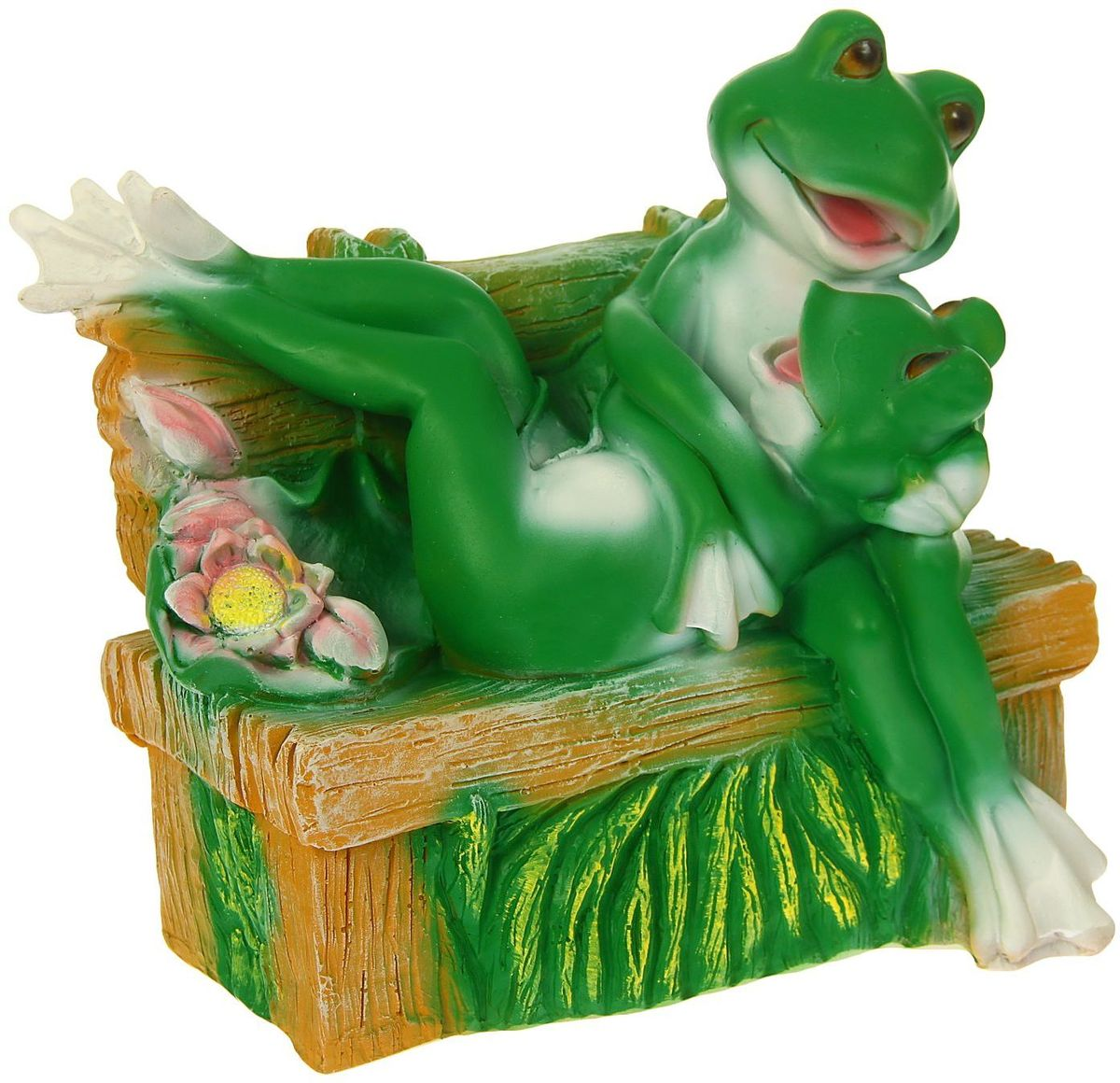 Фигура садовая Пара влюбленных лягушек на лавке, 18 х 28 х 29 см1259551