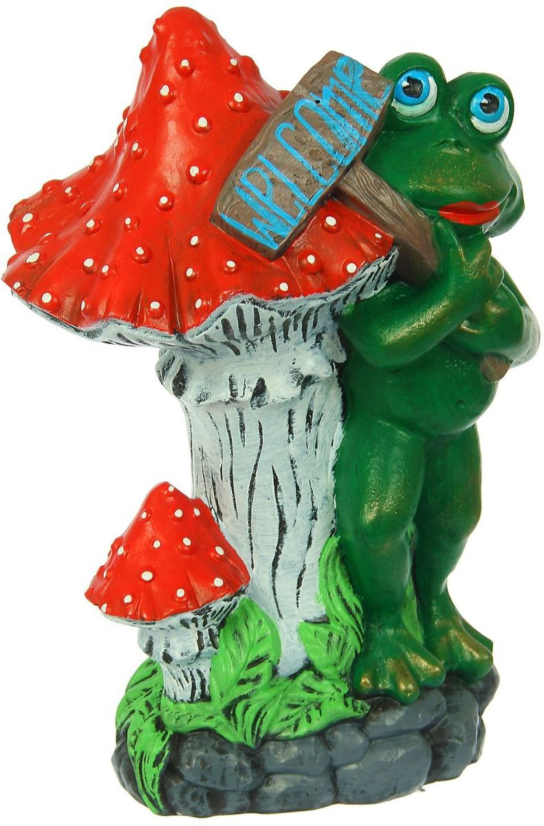 Фигура садовая Premium Gips Лягушка с табличкой, 24 х 32 х 47 см1308943Забавные лягушата добавят новые краски в ландшафт сада. Красочная садовая фигура легко расставит нужные акценты: приманит взор к водоёму или привлечёт внимание к цветочной клумбе.Гармоничнее всего лягушата сморятся в местах своего природного обитания: располагайте их рядом с водой или в траве.Садовая фигура из керамики легко выдержит уличные условия. Этот материал экологичен, ему не страшны солнечные лучи, влажность и перепады температуры.