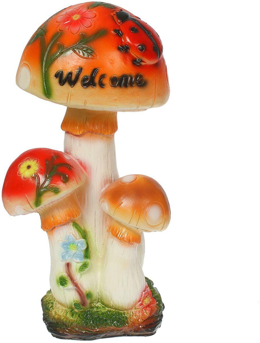 Фигура садовая Три мухомора Welcome, 15 х 18 х 35 см1333685