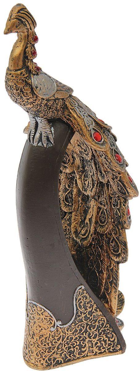 Фигура садовая Premium Gips Павлин на стойке, цвет: коричневый, бронзовый, 16 х 13 х 37 см1599266