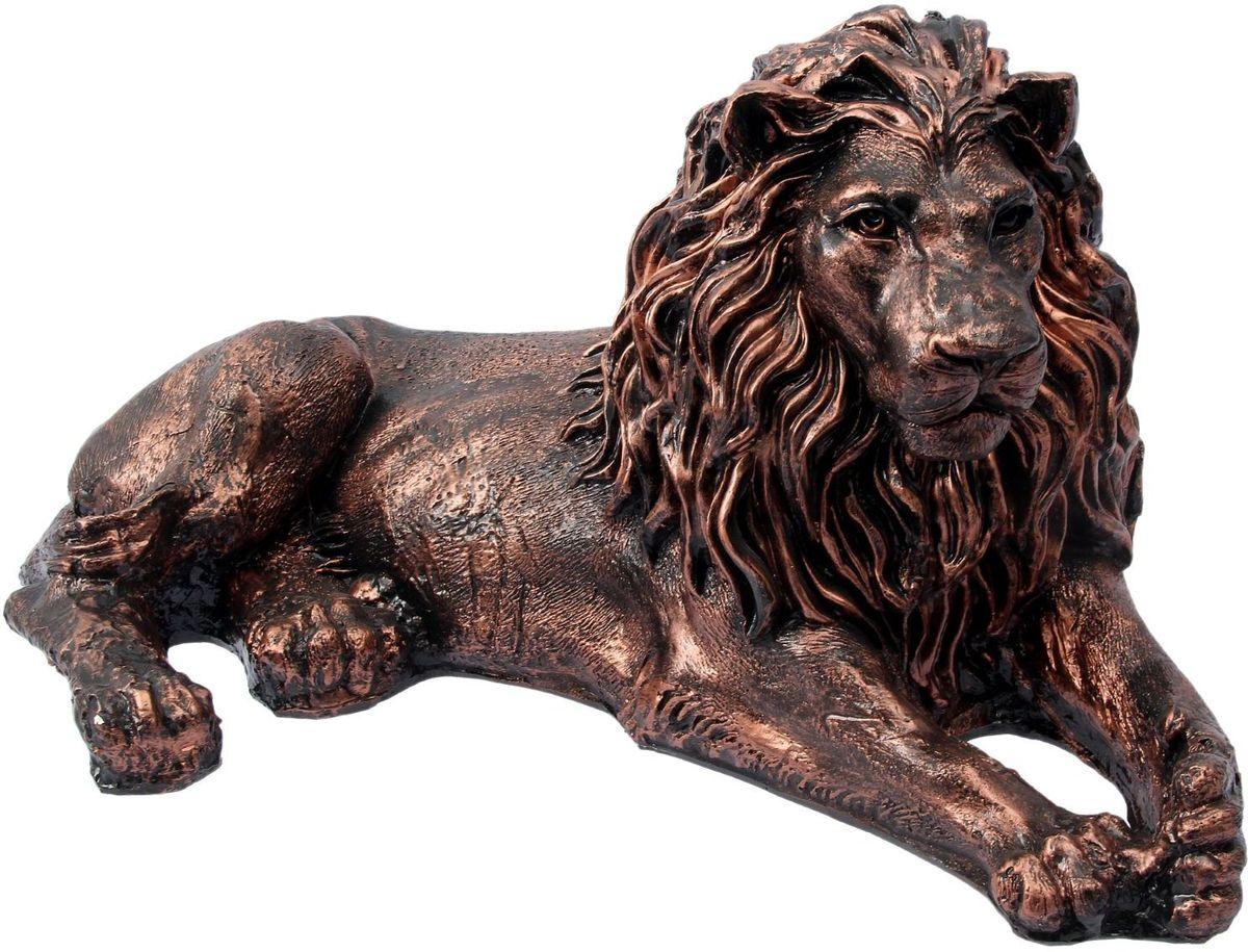 Фигура садовая Лев лежачий, цвет: бронзовый, 60 х 25 х 33 см1986580