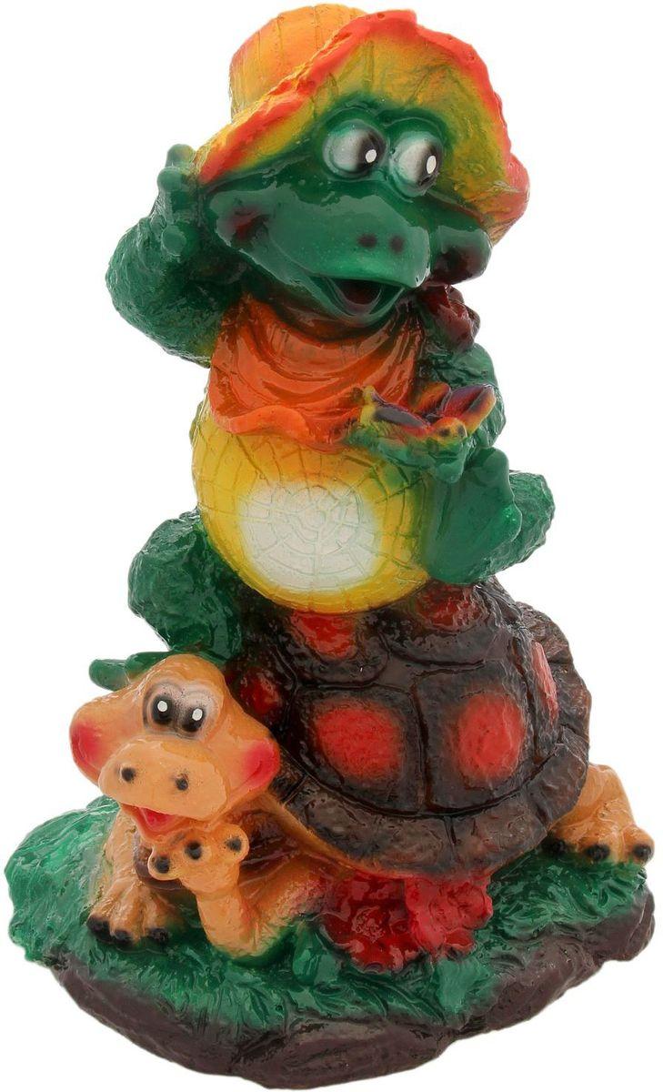 "Фото Фигура садовая Premium Gips ""Жаба на черепахе"", 20 х 20 х 32 см"