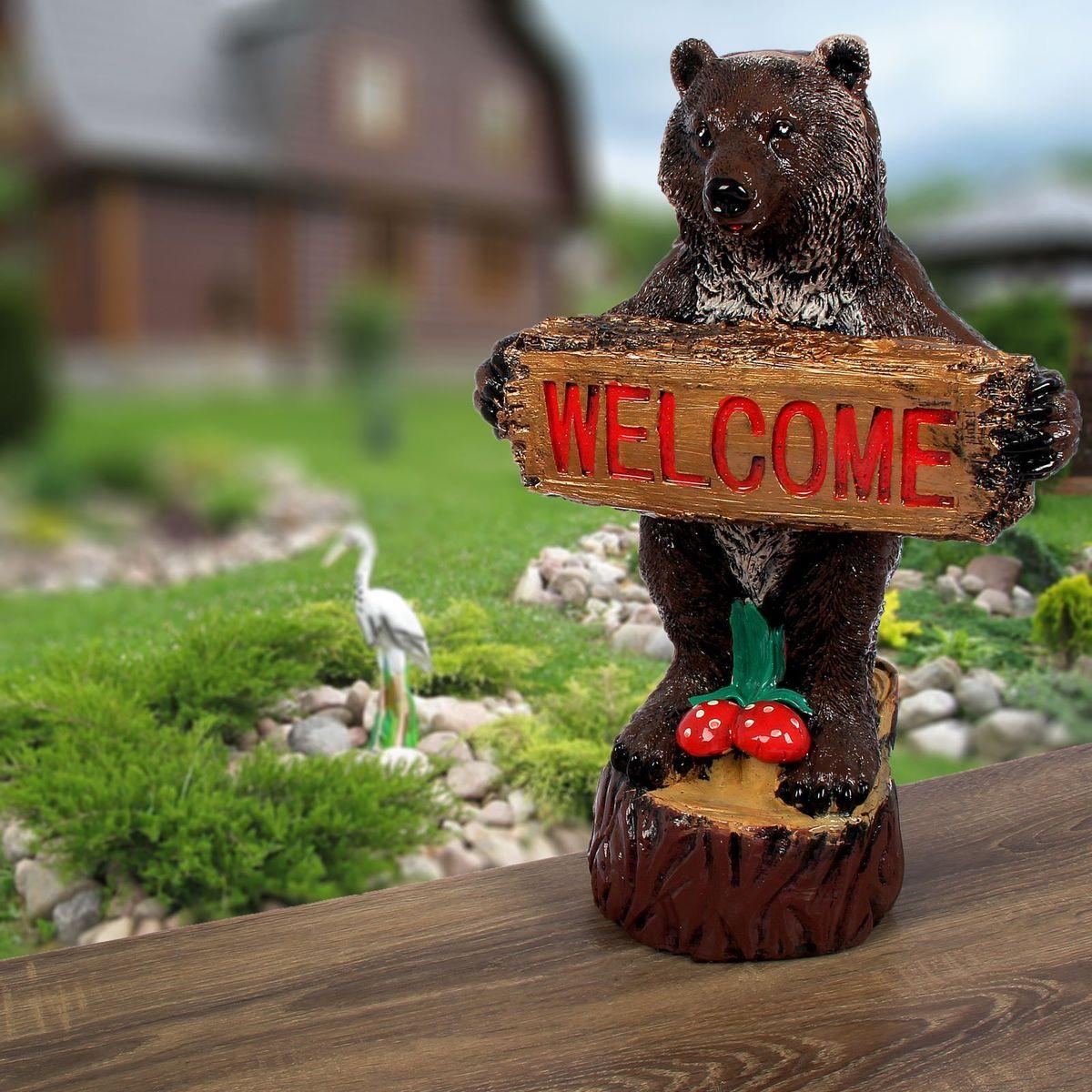 Фигура садовая Premium Gips Медведь с табличкой, 24 х 32 х 52 см2341778Летом практически каждая семья стремится проводить больше времени за городом. Прекрасный выбор для комфортного отдыха и эффективного труда на даче, который будет радовать вас достойным качеством.