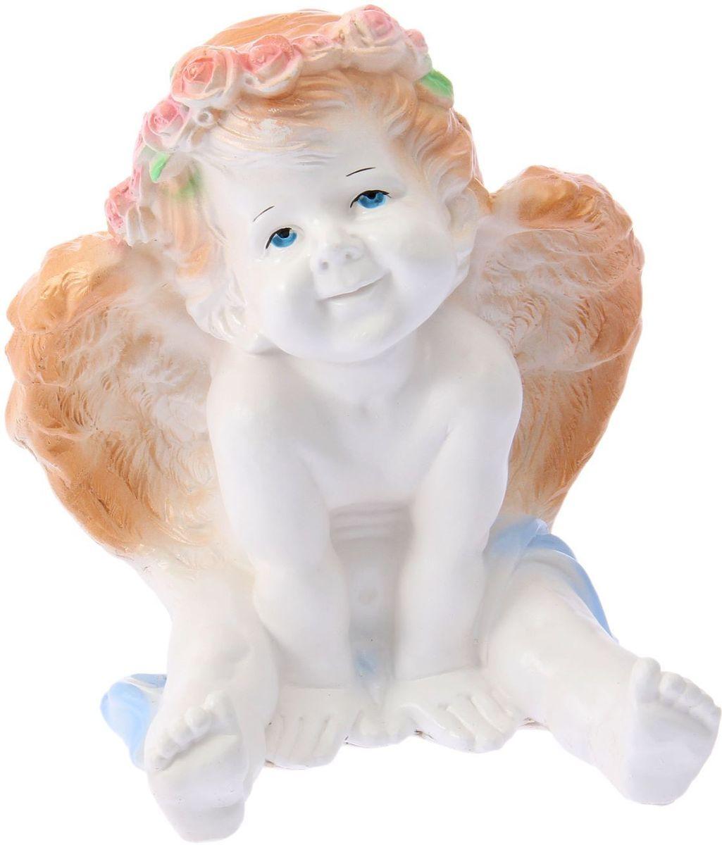 Фигура садовая Ангел карапуз сидя, цвет: белый, золотистый, 20 х 20 х 25 см