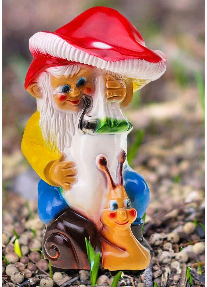 Фигура садовая Гном под грибом с улиткой, 35 х 37 х 70 см628322Забавная фигура оживит сад или огород. Яркий декор придаст окружающему пространству задорности. #name# будет охранять урожай и приносить удачу. Удивите гостей и порадуйте близких — поселите у себя на дачном участке весёлого жильца.