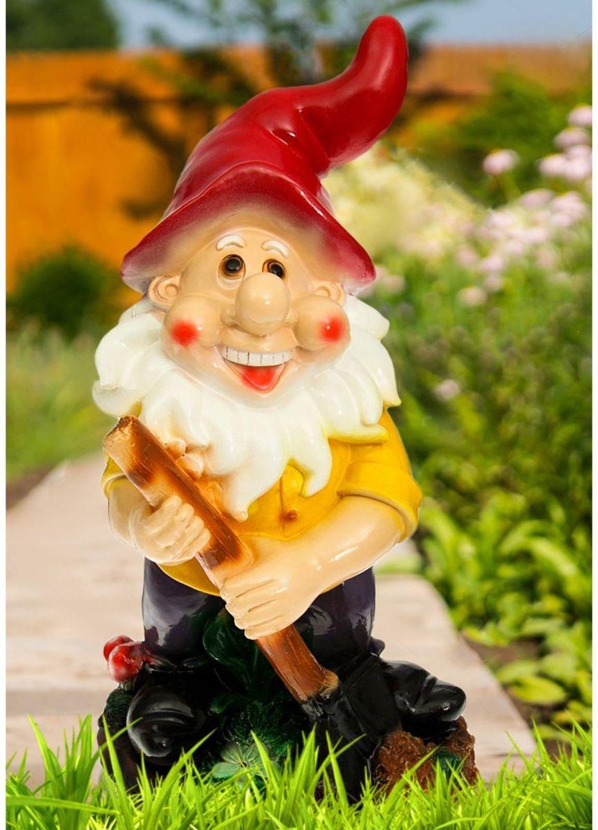 Фигура садовая Гном с лопатой, цвет: бордовый, 26 х 24 х 42 см628332