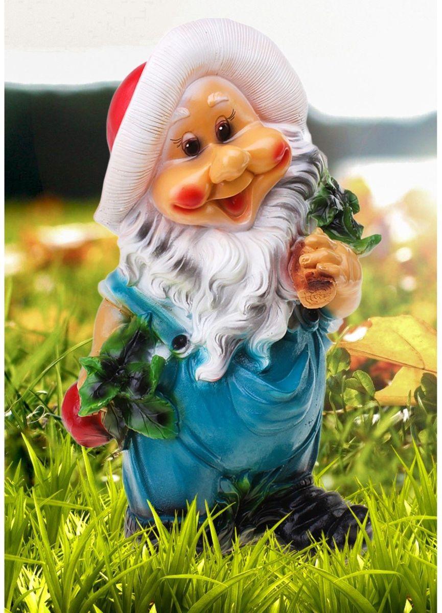 Фигура садовая Гном с овощами, цвет: синий, 24 х 33 х 54 см628336