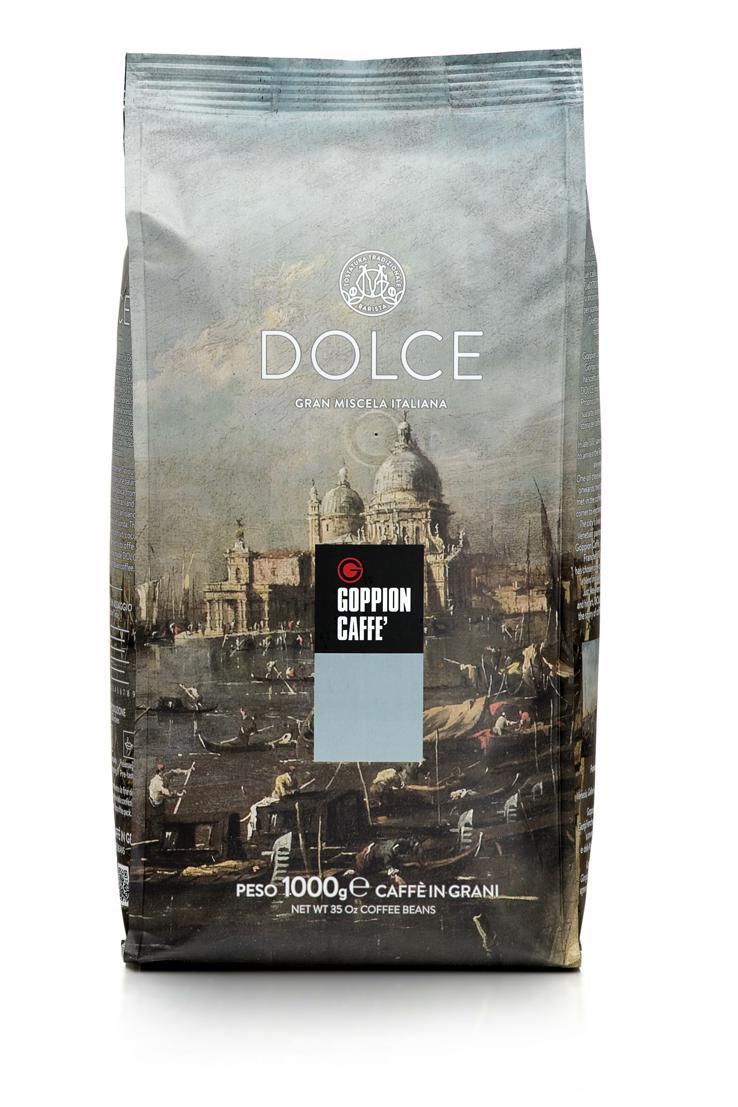 Goppion Caffe Dolce кофе в зернах, 1 кг8009360020118Смесь, состоящая на 90% из отборных зерен превосходной Арабики из Эфиопии, Бразилии, Гватемалы и Гондураса. Насыщенный, нежный и ярко выраженный шоколадный вкус.