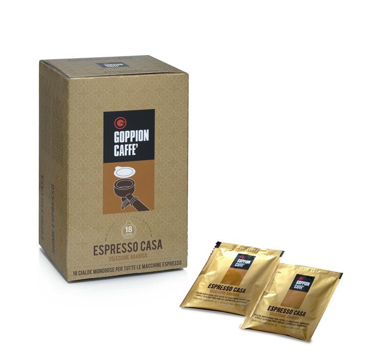 Goppion Caffe Espresso Casa, кофе в чалдах, 18 шт8009360111830Смесь отборной Арабики из Бразилии и Центральной Америки. Плотная ароматная и сладкая смесь с длительным шоколадным послевкусием.Кофе: мифы и факты. Статья OZON Гид