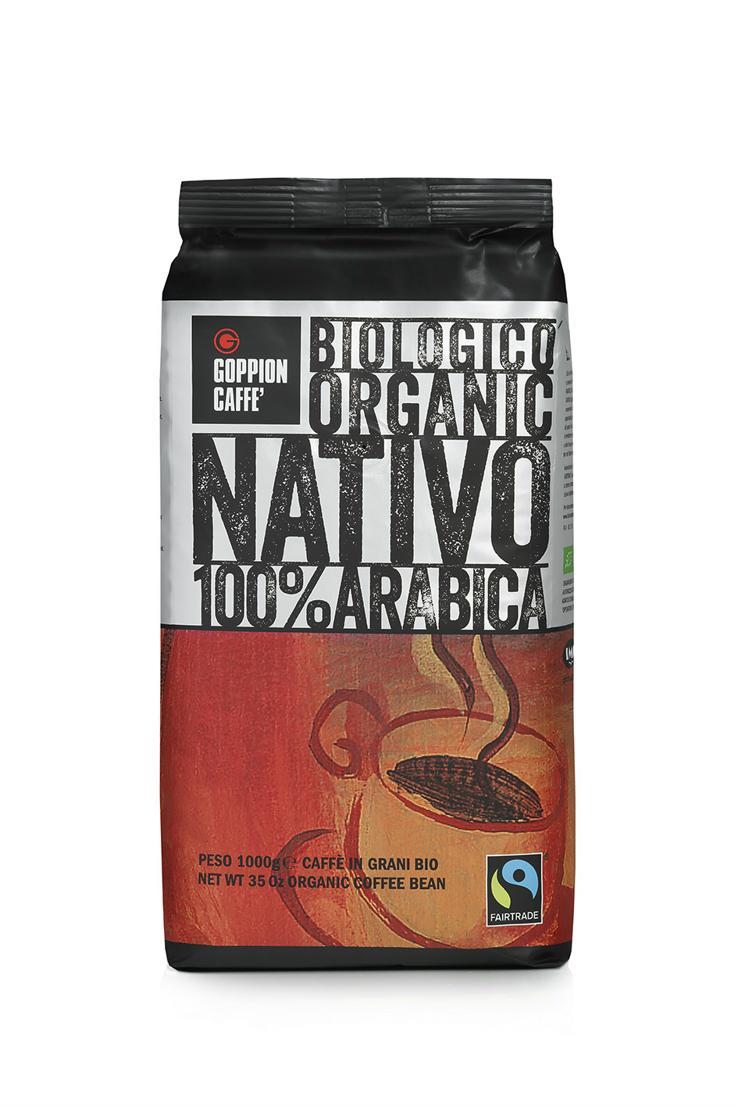 Goppion Caffe Nativo кофе в зернах, 1 кг8009360480110Смесь состоит из 100% Арабики из Центральной Америки. Данный продукт является экологически чистым (сертифицированный органический продукт). Сертифицированный кофе FAIRTRADE (Справедливая торговля). Напиток обладает великолепным ароматом и имеет легкую консистенцию. Пониженное содержание кофеина.