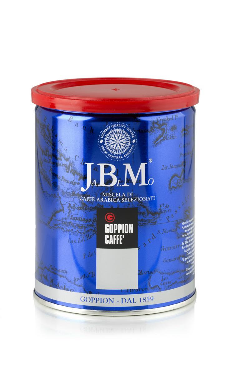 Goppion Caffe JaBlMo кофе молотый, 250 г8009360209049Смесь, состоящая из 100% Арабики из Центральной и Южной Америки, включающие изысканный и знаменитый кофе Ямайка Блу Маунтин, который экспортируется в ограниченных количествах. Мягкий и сладкий вкус с шоколадным послевкусием и легким цветочным оттенком.Кофе: мифы и факты. Статья OZON Гид