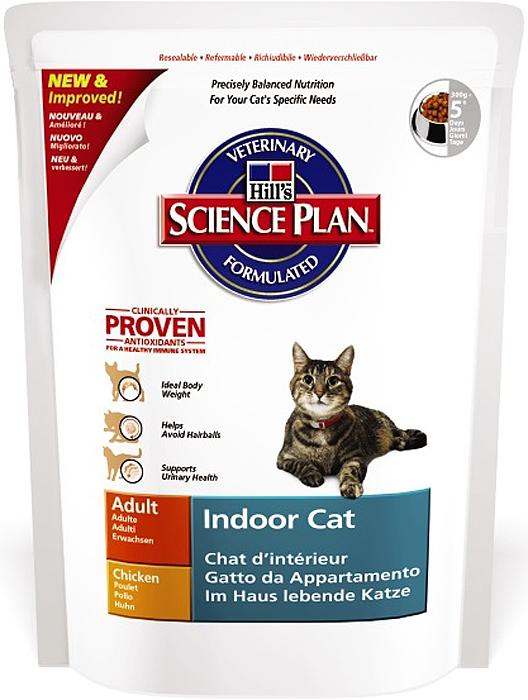 Корм сухой Hills Indoor Cat для кошек домашнего содержания, с курицей, 300 г5285Сухой корм Hills Science Plan Indoor Cat предназначен для кошек в возрасте от 1 года до 6 лет. Это полноценное, точно сбалансированное питание, приготовленное из ингредиентов высокого качества, без добавления красителей и консервантов. Рацион Science Plan содержит эксклюзивный комплекс антиоксидантов с клинически подтвержденным эффектом для поддержки иммунной системы вашего питомца. Рекомендуется взрослым кошкам, живущим в основном, или исключительно в домашних условиях. Корм Science Plan Indoor Cat Adult разработан специально для потребностей кошек, живущих исключительно в домашних условиях. Его формула помогает снизить формирование комков шерсти и обеспечивает эффективный контроль веса тела. Высокий уровень растительных волокон способствует продвижению проглоченных волос через пищеварительную систему, уменьшая их аккумуляцию в комки шерсти и последующую регургитацию или срыгивание. Этот сбалансированный корм со сниженной энергетической ценностью помогает контролировать вес тела, путем замены перевариваемых компонентов на неперевариваемые волокна, что увеличивает объем корма и не вызывает голода. Добавление L-карнитина обеспечивает ограничение отложения жира и поддержание сухой мышечной массы. Способствует образованию более кислого рН мочи, а контролируемое содержание минералов способствует профилактике заболеваний мочевыводящих путей. Для лучшего эффекта корм Science Plan Indoor Cat Adult необходимо скармливать без добавления другой еды. Корм также содержит улучшенную Антиоксидантную Формулу для снижения окислительных повреждений клеток. Состав: курица (минимум 40% курицы, 53% общего содержания мяса домашней птицы), мука из мяса домашней птицы, молотая кукуруза, молотый рис, мука из маисового глютена, целлюлоза, гидролизат белка, животный жир, растительное масло, калия хлорид, кальция карбонат, добавлен L-карнитин, кальция сульфат, соль, DL-метионин, таурин, витамины и микроэлементы. С