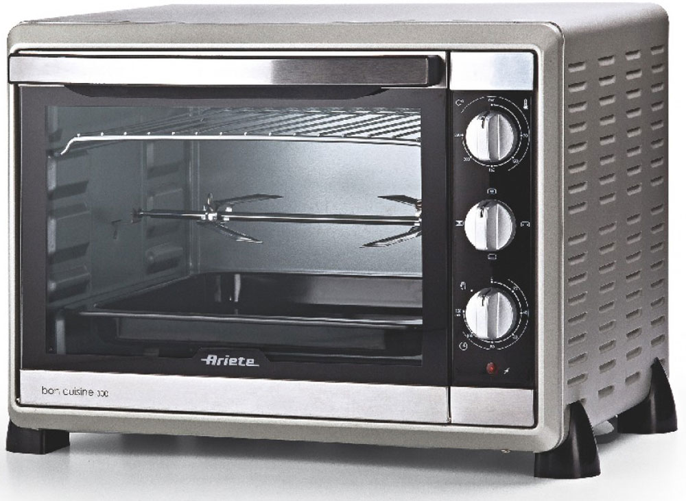 Ariete 975 мини-печь71222975Ariete 975 - многофункциональная духовка с внутренним объёмом 30 л, четырьмя режимами работы, конвекцией и термостатом.Мини-печь оснащена таймером на 120 минут и зуммером, который оповестит о завершении программы. Температура регулируется от 0 до 230°С. Предусмотрено четыре режима нагрева: гриль, вертел, размораживание и нижний нагрев, которые позволяют готовить самые разнообразные блюда.Прозрачная дверца дает возможность наблюдать за процессом, находясь на безопасном расстоянии. В комплект входит решётка для гриля, вертел для приготовления хрустящей курочки и противень для запекания с ручкой.