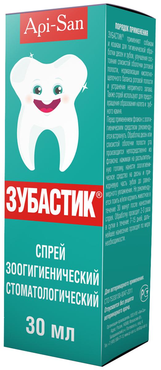 Спрей зоогигиенический Апи-Сан Зубастик, стоматологический, 30 млН0000000300Спрей зоогигиенический стоматологический представляет собой вязкую коричневую, опалесцирующую жидкость, в своем составе содержит: аспасвит, бланозу, глицерин дистиллированный, Д-пантенол, калия сорбат, натрия бензоат, пеногаситель софэксил, полисорбат 80, полиэтиленгликоль-400, прополис, эдета Б, экстракт коры дуба сухой, экстракт календулы сухой, экстракт ромашки сухой, экстракт шалфея сухой, гиалуроновую кислоту и воду очищенную.Crystal Lane косметический спрей для зубов нормализует обменные процессы в ротовой полости, профилактирует образование зубного налета и камня, предотвращает появление неприятного запаха из ротовой полости. Комплекс экстрактов лекарственных растений регулирует и восстанавливает обменные процессы за счет улучшения микроциркуляции в тканях.По степени воздействия на организм теплокровных животных спрей относится к малоопасным веществам (4 класс опасности по ГОСТ 12.1.007-76) и в рекомендуемых дозах не оказывает местнораздражающего, сенсибилизирующего, эмбриотоксического и тератогенного действия.Спрей применяют собакам и кошкам для гигиенической обработки десен и зубов, улучшения состояния слизистой оболочки ротовой полости, нормализации кислотно-щелочного баланса ротовой полости и устранения не приятного запаха. Также спрей используют для предотвращения налета и образования зубного камня.В редких случаях при применении зоогигиенического средства возможно окрашивание эмали зубов. При первом приеме возможна гиперсаливация, проходящая через 10-15 мин, что является естественной реакцией животного и не требует вмешательства.Перед применением флакон с зоогигиеническим средством рекомендуется встряхнуть. Обработка десен или слизистой оболочки полости рта производится непосредственно из флакона, нажимая на распылительную головку флакона, нанести зоогигиеническое средство на десны и прикорневую часть зубов до равномерного увлажнения. Не рекомендуется кормить и/или поить животно