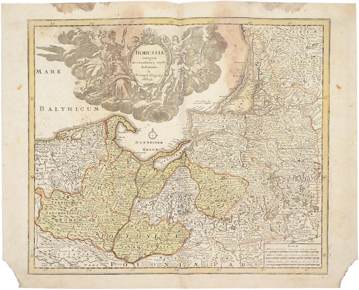 Географическая карта Польши (Borussia). Christoph Weigel. Раскрашенная гравюра. Западная Европа. 1720(?) г