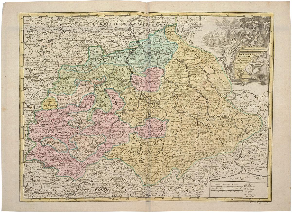 Георграфическая карта Саксонии (Saxonia). Раскрашенная гравюра. Западная Европа, 1680 - 1690 гг