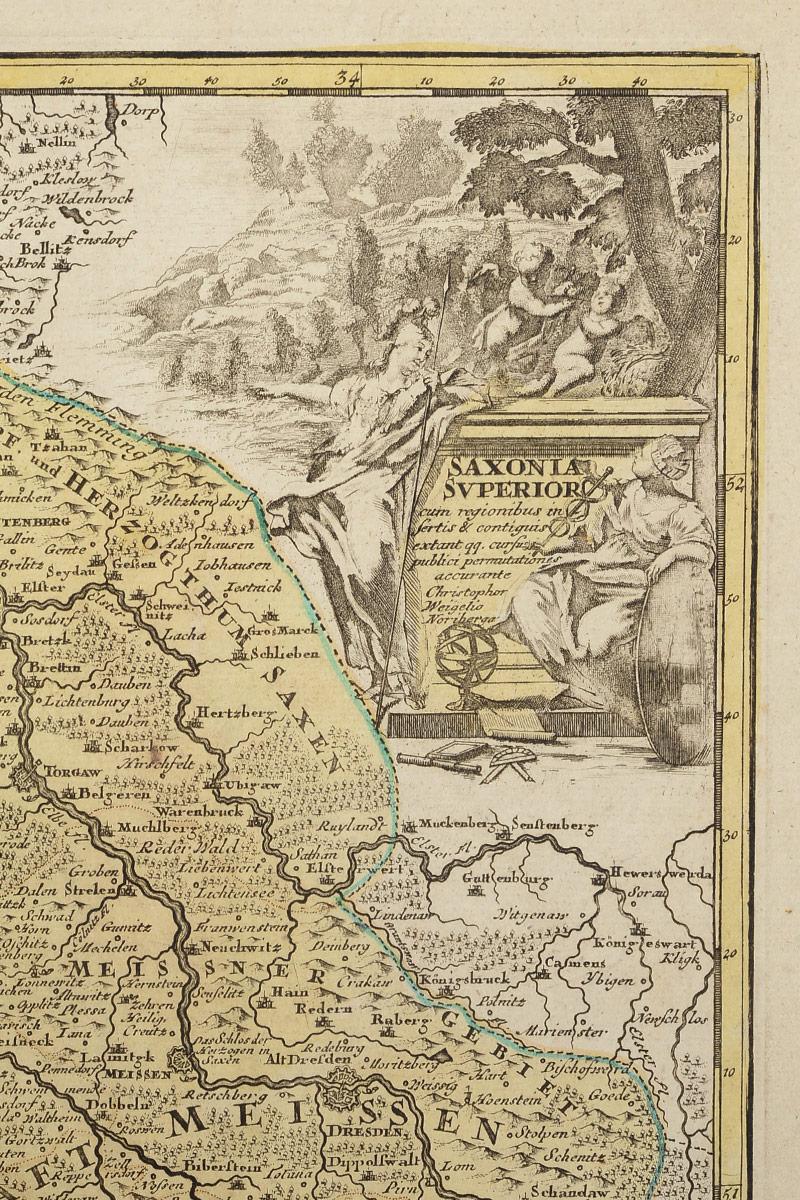 Георграфическая карта Саксонии (Saxonia).  Раскрашенная гравюра.  Западная Европа, 1680 - 1690 гг Незначительный вертикальный перегиб в центральной части.  Не подлежит...