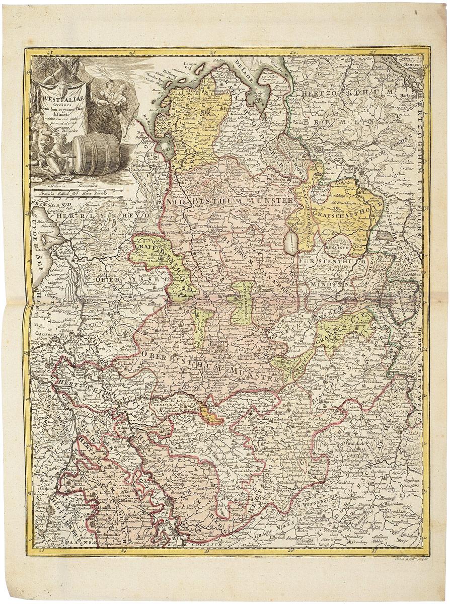 Географическая карта Вестфалии (Westfaliae). Christoph Weigel. Раскрашенная гравюра. Западная Европа, 1680 - 1690 гг