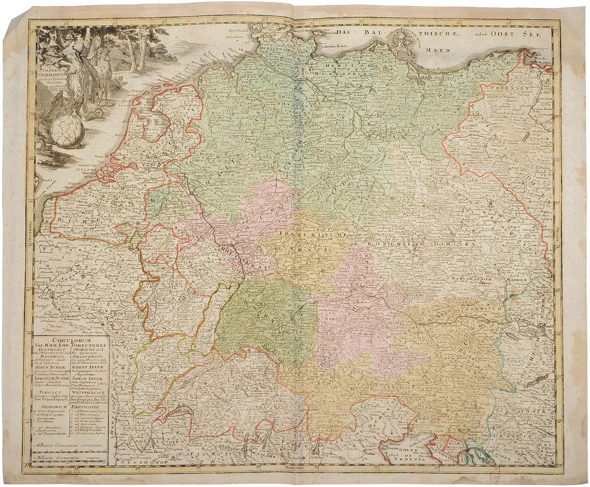 Географическая карта Германской Империи (Imperium Germmanicum). Раскрашенная гравюра. Западная Европа, 1680 - 1690 гг