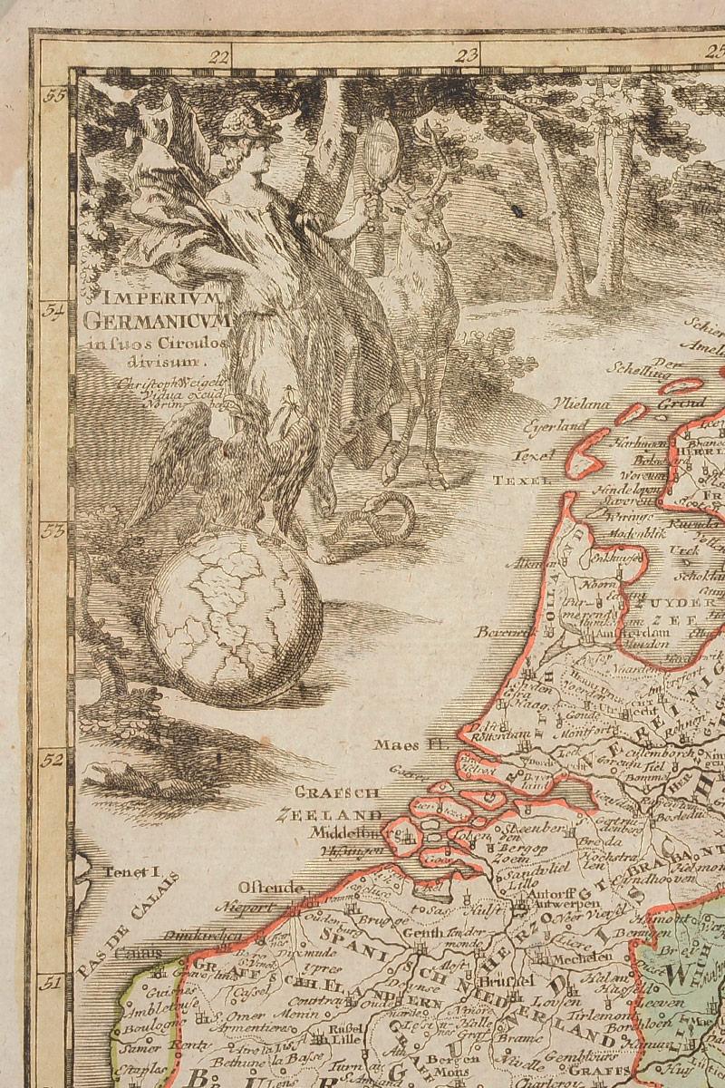Географическая карта Германской Империи (Imperium Germmanicum).  Раскрашенная гравюра.  Западная Европа, 1680 - 1690 гг 1680 - 1690 гг. Статья OZON Гид. Размер карты: 44 х 36 см. Гравюра ...