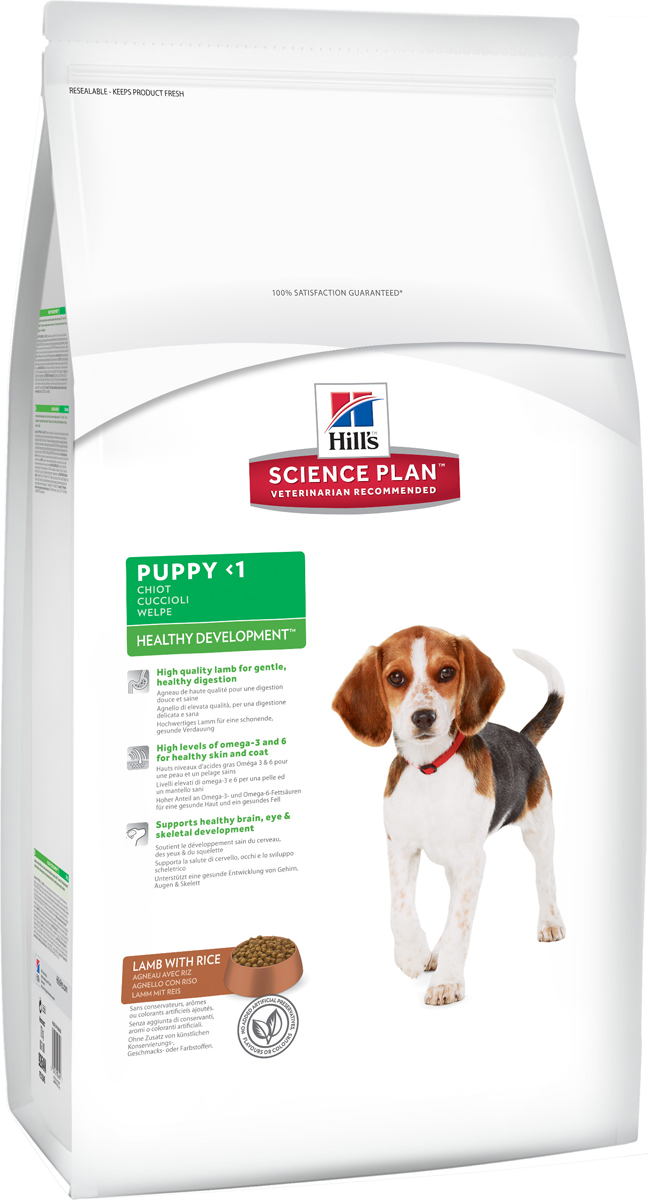 Корм сухой Hill's Healthy Development для щенков средних пород, с ягненком и рисом, 12 кг корм сухой для котят hill s healthy development с тунцом 2 кг