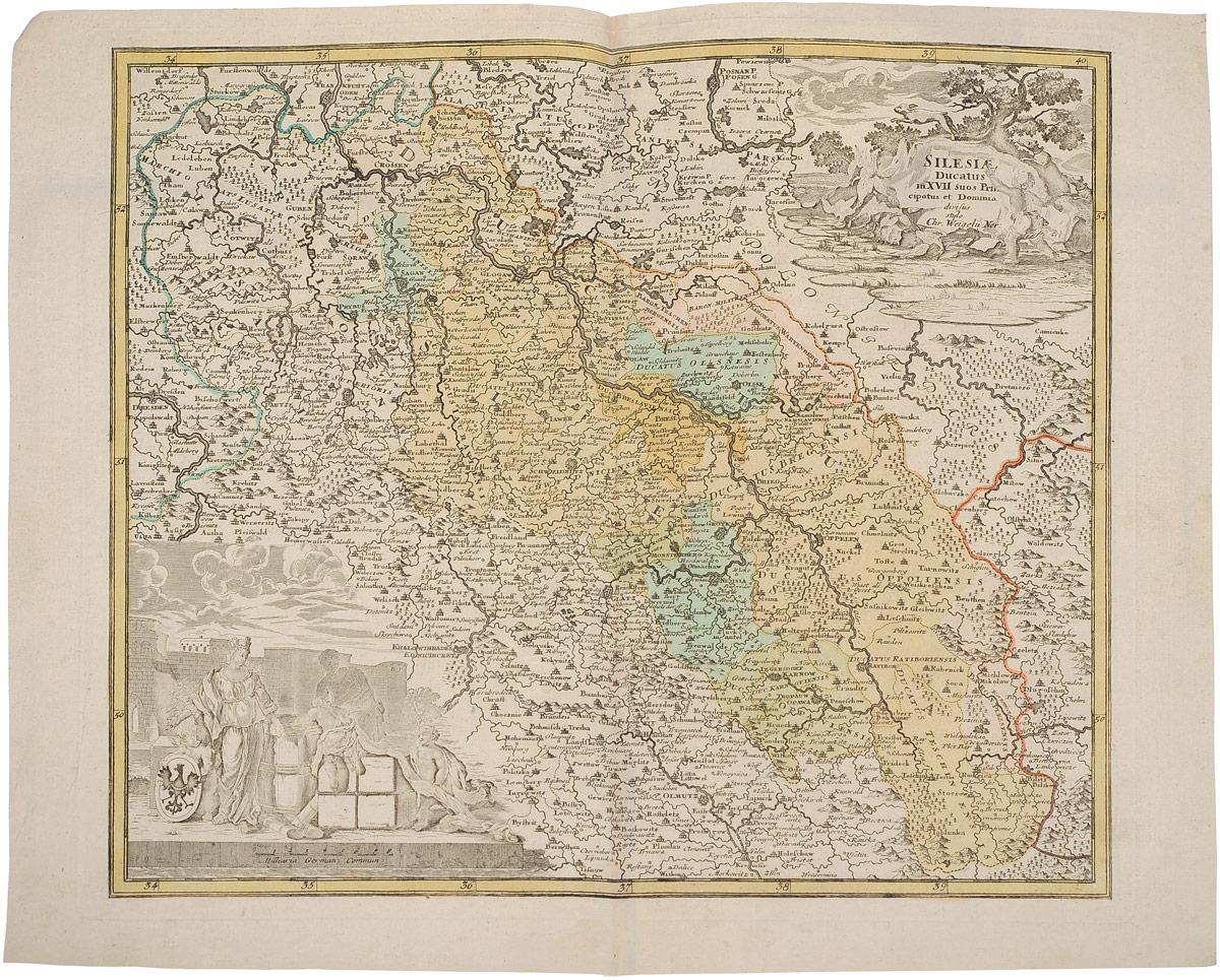 Географическая карта Силезии (Silesia). Christoph Weigel. Раскрашенная гравюра. Западная Европа, 1680 - 1690 гг