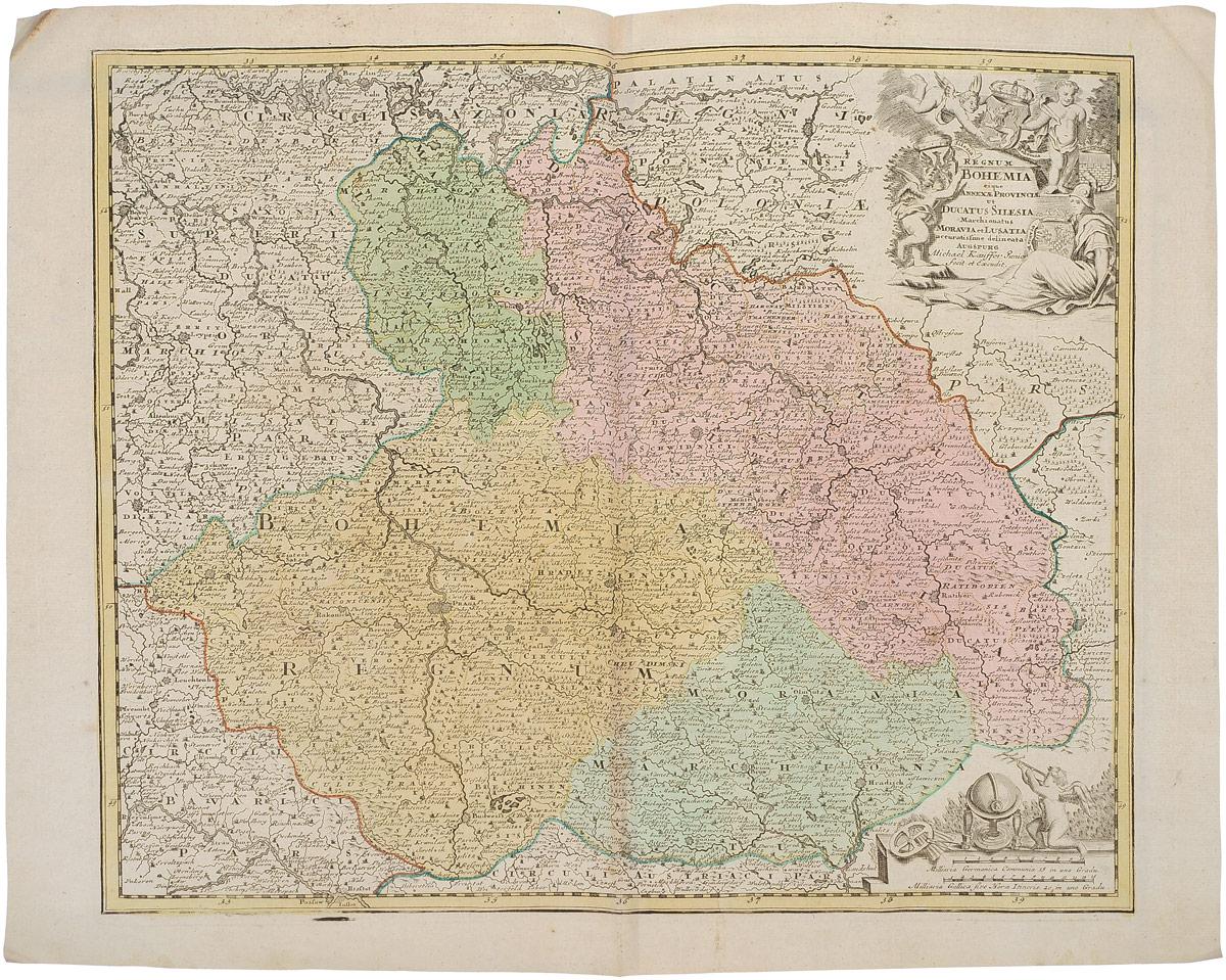 Географическая карта Богемии (Bohemia). Гравюра. Западная Европа. 1680 - 1690 гг