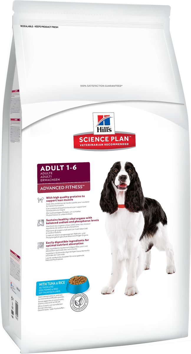 Корм сухой Hills Advanced Fitness для взрослых собак, с тунцом и рисом, 12 кг9269Сухой корм Hills Science Plan Advanced Fitness Tuna & Rice предназначен для собак от 1 года до 6 лет, мелких и средних пород, умеренно активных. Это полноценное, точно сбалансированное питание, приготовленное из ингредиентов высокого качества, без добавления красителей и консервантов. Рацион Science Plan содержит эксклюзивный комплекс антиоксидантов с клинически подтвержденным эффектом для поддержки иммунной системы вашего питомца. Состав: с тунцом и рисом (минимум 16% тунца, минимум 10% риса), молотая кукуруза, молотый рис, соевая мука, животный жир, мука из тунца, мука из мяса домашней птицы, мука из маисового глютена, гидролизат белка, семя льна, растительное масло, калия цитрат, кальция карбонат, соль, L-лизина гидрохлорид, калия хлорид, таурин, L-триптофан, витамины и микроэлементы. Содержит натуральные консерванты - смесь токоферолов, лимонную кислоты и экстракт розмарина. Среднее содержание нутриентов в рационе: протеины 23%, жиры 15,1%, углеводы 48%, клетчатка (общая) 1,6%, влага 8%, кальций 0,66%, фосфор 0,59%, натрий 0,22%, калий 0,64%, магний 0,11%, омега-3 жирные кислоты 0,61%, омега-6 жирные кислоты 3,07%, медь, витамин А 10200 МЕ/кг, витамин D 485 МЕ/кг, витамин Е 600 мг/кг, витамин С 70 мг/кг, бета-каротин 1,5 мг/кг. Товар сертифицирован.