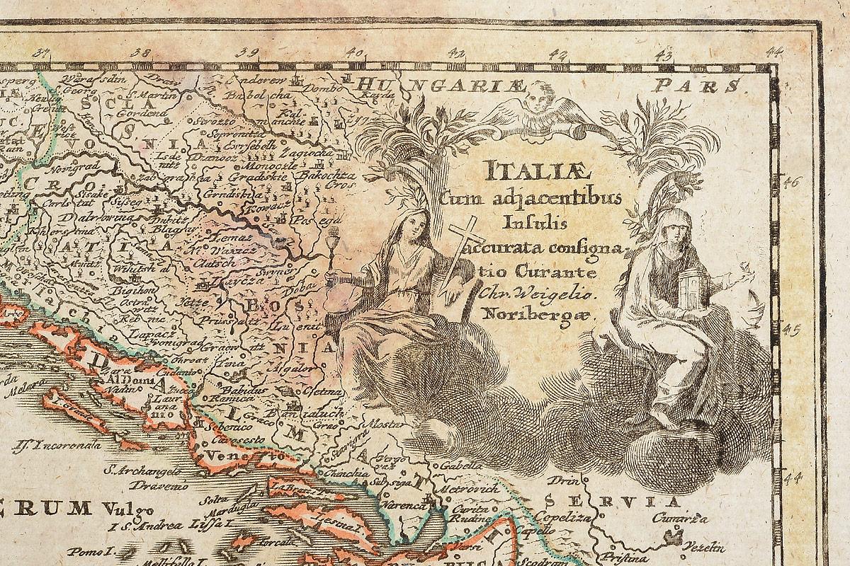 Географическая карта Италии (Italia).  Раскрашенная гравюра.  Западная Европа, 1680 - 1690 гг    Причины вкладывать деньги в антиквариат в кризис.  Не подлежит...
