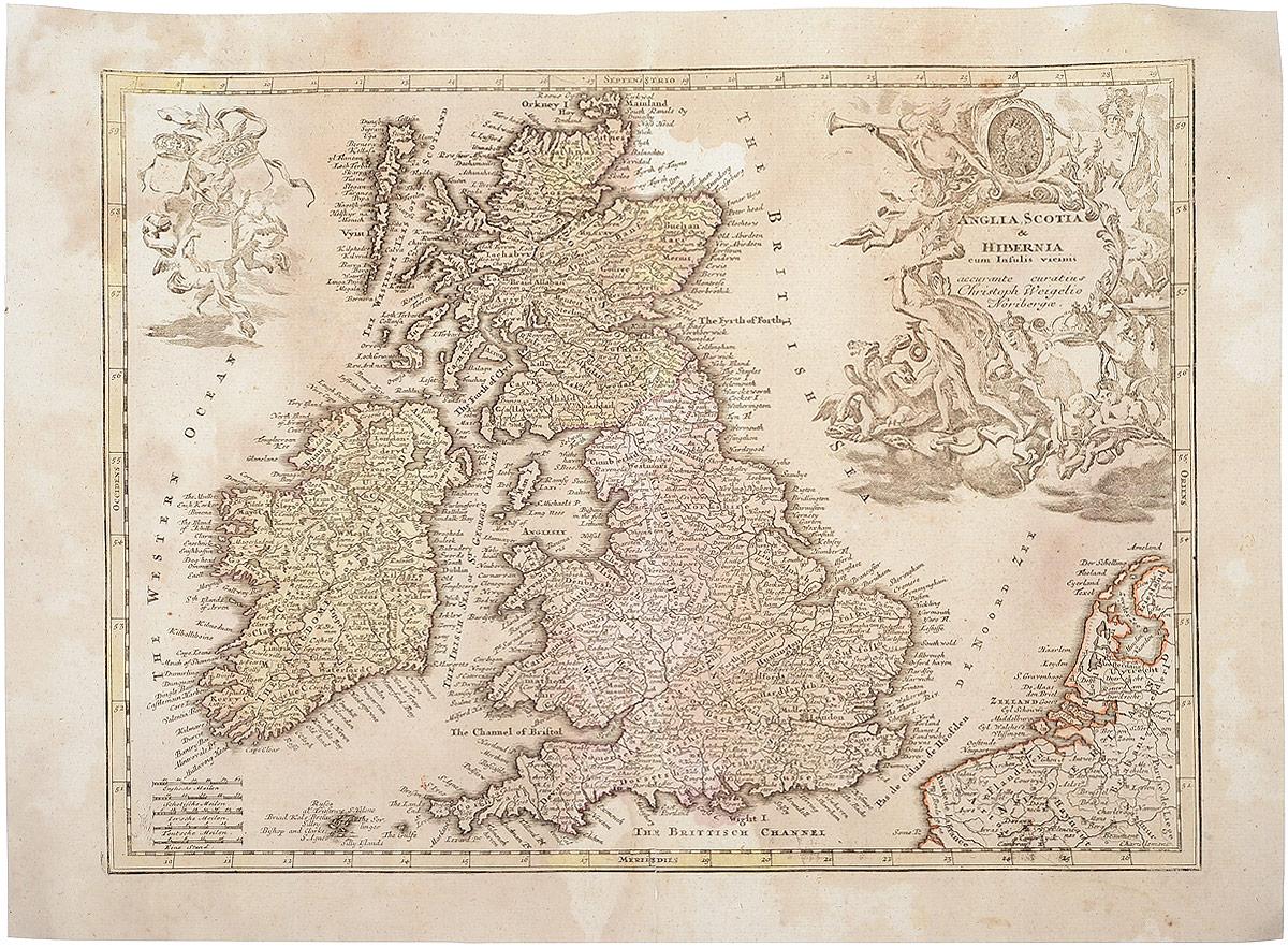 Географическая карта Англии, Шотландии (Anglia, Scotia & Hibernia). Гравюра. Западная Европа. 1680 - 1690 гг