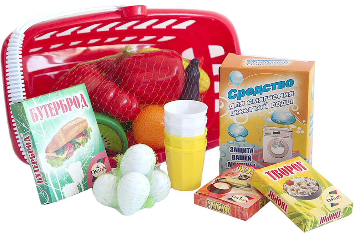 Орион Игрушечная корзина для супермаркета с продуктами цвет красный магазин в бресте белвест