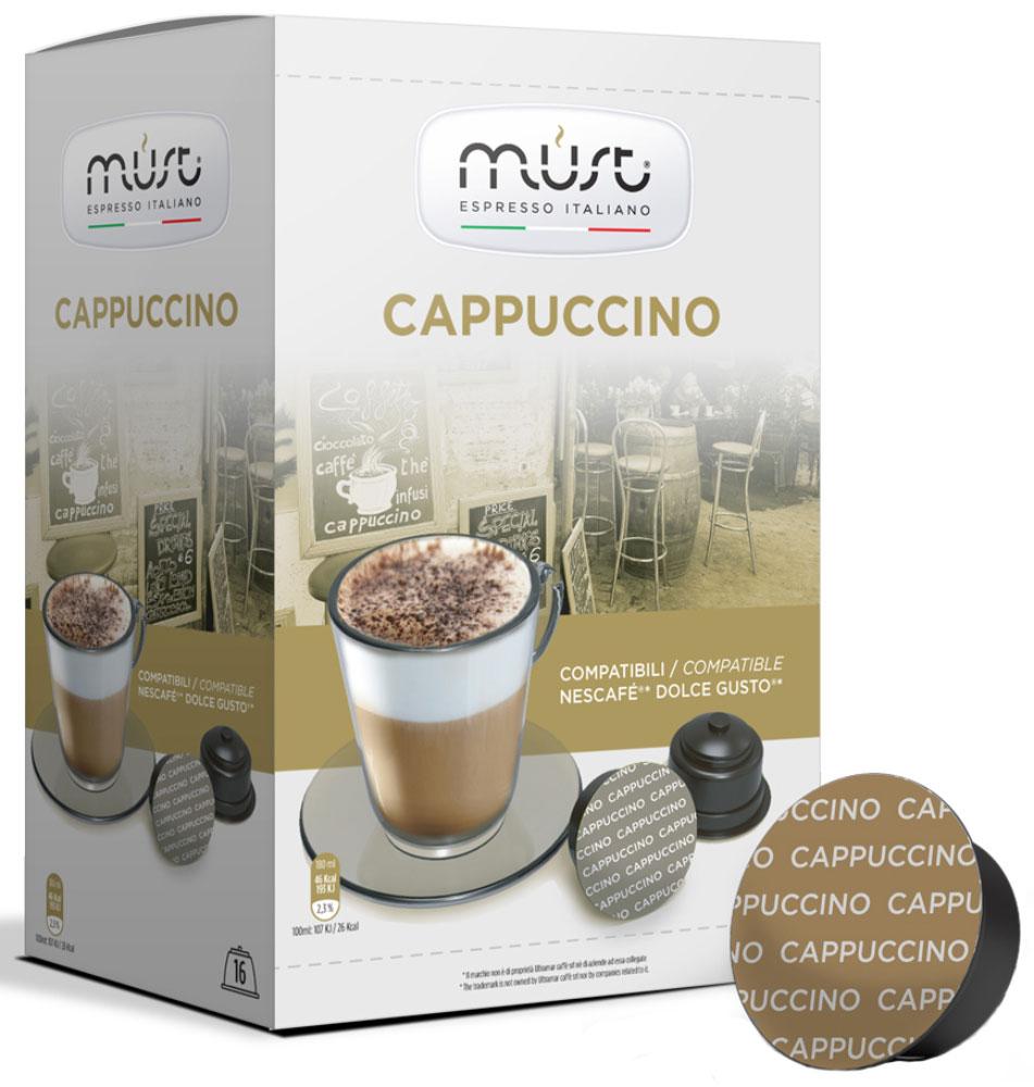 MUST DG Cappucino кофе капсульный, 16 шт8056370761357Кофе в капсулах MUST DG Cappucino - пример итальянского качества и мастерства обжарки кофейных зерен. Молотый кофе прессуется по новейшим инновационным технологиям, позволяющим сохранить восхитительный кофейный вкус и аромат. Этот кофе отличается густой плотной пенкой, нежным вкусом и удивительным интенсивным ароматом. Капсулы MUST DG Cappucino позволяют варить изысканный капучино с устойчивой бархатистой пенкой.Уважаемые клиенты! Обращаем ваше внимание на то, что упаковка может иметь несколько видов дизайна. Поставка осуществляется в зависимости от наличия на складе.