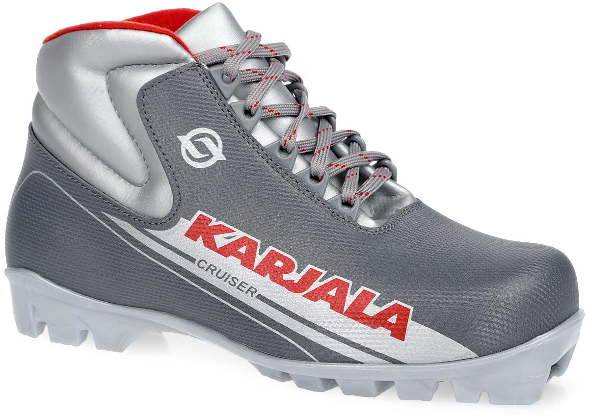 Ботинки лыжные Karjala Cruiser, цвет: серый, красный. 35924. Размер 36NN75 KidsчЛыжные ботинки Karjala Cruiser выполнены из полиуретана вклассическом стиле и предназначены для лыжных прогулок итуризма. Язык служит клапаном для защиты от снега и влаги.Вставки в мысовой и пяточной частях предназначены длядополнительной жесткости. Подкладка, исполненная измягкого флиса, и стелька из утепленного текстиля защитятноги от холода и обеспечат уют. Верх изделия оформленудобной шнуровкой с петлями из пластика. Подошва системыNNN из полимерного термопластичного материала. Содной из боковых сторон лыжные ботинки дополнены принтомв виде логотипа бренда. Технические характеристики:t°C эксплуатации до -25°С.