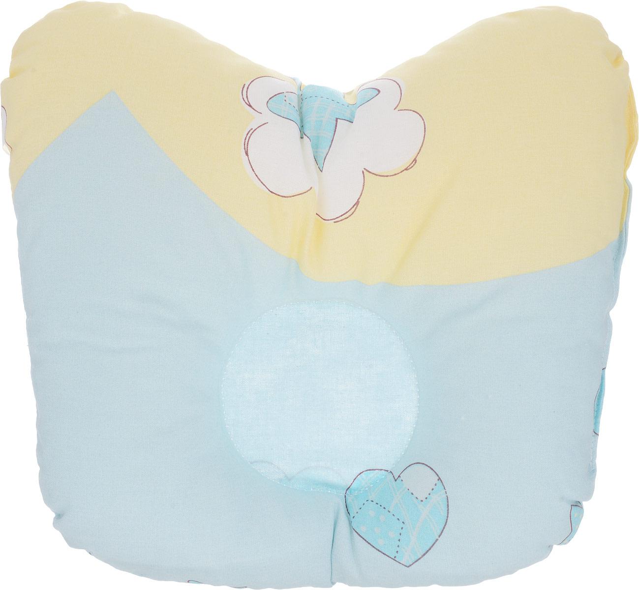 Сонный гномик Подушка анатомическая для младенцев Мишка цвет голубой желтый 27 х 20 см555А _голубой, желтыйАнатомическая подушка для младенцев Сонный гномик Мишка изготовлена из бязи - 100% хлопка. Наполнитель - синтепон в гранулах (100% полиэстер).Подушка компактна и удобна для пеленания малыша и кормления на руках, она также незаменима для сна ребенка в кроватке и комфортна для использования в коляске на прогулке. Углубление в подушке фиксирует правильное положение головы ребенка.Подушка помогает правильному формированию шейного отдела позвоночника и обеспечивает младенцу крепкий и здоровый сон.