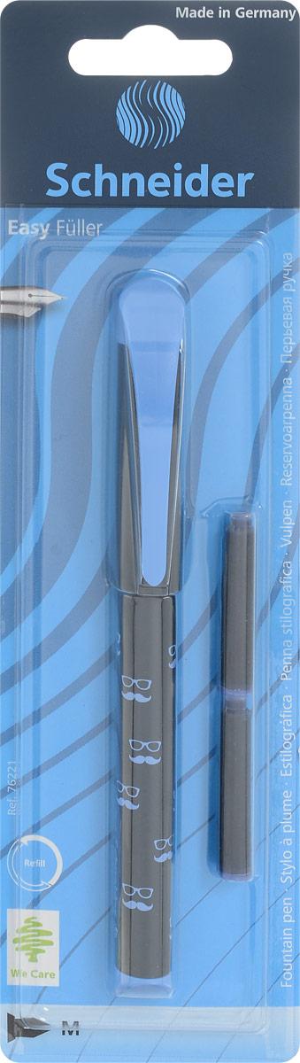 Schneider Ручка перьевая Easy с картриджами цвет корпуса черный голубойS76221_цвет корпуса черный, голубойПерьевая ручка Schneider Easy в пластиковом корпусе станет отличным подарком как школьнику, так и взрослому человеку. Перо из металла обеспечивает равномерную подачу чернил.Ручка дополнена колпачком с удобным клипом. В комплекте входят два картриджа с чернилами. Чернила светоустойчивые и водостойкие.