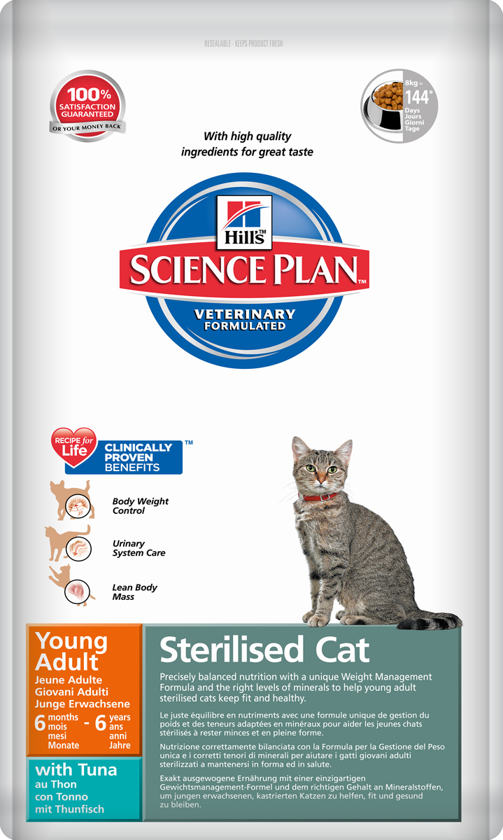 Корм сухой Hills Science Plan Feline Young Adult Sterilised Cat для стерилизованных кошек от 6 месяцев до 6 лет, тунец, 8 кг10293Hill's Science Plan - это полноценное, точно сбалансированное питание, приготовленное из ингредиентов высокого качества, без добавления красителей и консервантов. Каждый рацион Science Plan содержит эксклюзивный комплекс антиоксидантов с клинически подтвержденным эффектом для поддержки иммунной системы Вашего питомца. Если вы решили перевести вашу кошку на рацион Hills Science Plan, это необходимо сделать постепенно в течение 7 дней. Смешивайте прежний корм с новым, постоянно увеличивая долю последнего до полного перехода на Hills Science Plan. Тогда ваш питомец сможет в полной мере насладиться вкусом и преимуществами превосходного питания, которое обеспечивает рацион Hills Science Plan. Рекомендуется • Для молодых стерилизованных кошек обоих полов в возрасте от 6 мес до 6 лет Не рекомендуется • Котятам до 6 месяцев. • Беременным и лактирующим кошкам. В период беременности рекомендуется перевести кошку на Science Plan Kitten Healthy Development.Ключевые преимущества • Содержит Hill's WMF (Формулу Контроля Веса) • Энергетическая ценность, содержание жира снижены, что помогает предотвратить набор веса • Добавлен L-карнитин, облегчает превращение жиров в энергию, ограничивая их отложение • Добавлен L-лизин, что помогает предотвратить потерю мышечной массы • Контролируемое содержание фосфора и магния, что способствует здоровью почек и мочевыводящих путей • pH мочи кислый 6.2-6.4. Поддерживает здоровье мочевыводящих путей во взрослом возрасте • Добавлена суперантиоксидантная формула, которая нейтрализует свободные радикалы и поддерживает здоровье иммунной системы.Ингредиенты сухого рациона с Тунцом (8%): Кукуруза, мука из мяса домашней птицы, мука из кукурузного глютена, мука из тунца, животный жир, минералы, L-лизин, гидролизат белка, рыбий жир, льняное семя, DL-метионин, L-карнитин, рис, таурин, витамины и микроэлементы.СРЕДНЕЕ СОДЕРЖАНИЕ НУТ
