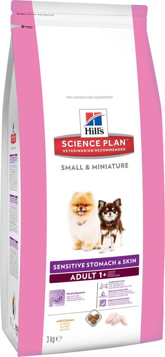 Корм сухой для собак миниатюрных размеров Hills Science Plan Canine Adult 1+ Small & Miniature Sensitive Stomach&Skin, чувстительный желудок и кожа, курица, 3 кг10517Hill's Science Plan - это полноценное, точно сбалансированное питание, приготовленное из ингредиентов высокого качества, без добавления красителей и консервантов. Каждый рацион Science Plan содержит эксклюзивный комплекс антиоксидантов с клинически подтвержденным эффектом для поддержки иммунной системы Вашего питомца.Если вы решили перевести вашу собаку на рацион Hills Science Plan, это необходимо сделать постепенно в течение 7 дней. Смешивайте прежний корм с новым, постоянно увеличивая долю последнего до полного перехода на Hills Science Plan. Тогда ваш питомец сможет в полной мере насладиться вкусом и преимуществами превосходного питания, которое обеспечивает рацион Hills Science Plan.Рекомендуется- Собакам от 1 года мелких и миниатюрных пород для улучшения работы пищеварительного тракта и поддержания здоровья кожиНе рекомендуется- Кошкам- Щенкам- Беременным и лактирующим сукам. В течение беременности и лактации суку необходимо перевести на рацион для щенков Science Plan Puppy Small & Miniature.Ключевые преимущества- Содержание мяса птицы 34% - ингредиент №1 - Контролируемое содержание протеина, кальция, фосфора и натрия обеспечивает точный баланс питательных веществ для крепкого здоровья. Не допускает избытка нутриентов, который может навредить здоровью.- Высокое содержание омега-3, 6 -жирных кислот поддерживает низкий уровень медиаторов воспаления, улучшает состояние кожи и шерсти- Высокое содержание протеинов обеспечивает необходимыми питательными веществами, улучшающими рост шерсти и здоровье кожи.- Хорошо измельченные злаки улучшают пищеварение и всасывание нутриентов- Уникальная смесь клетчатки для поддержания здоровья ЖКТ - Растворимая клетчатка (из волокон овса и свекольной пульпы) служит источником короткоцепочных жирных кислот, которые питают клетки кишечника и поддерживают нормальную микроф