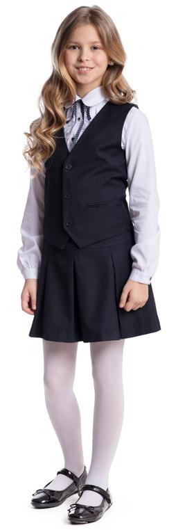 Комплект для девочки Scool: жилет, юбка, цвет: темно-синий. 374443. Размер 128, 8 лет374443Комплект для девочки Scool, изготовленный из полиэстера и вискозы, состоит из жилета и юбки. Комплект подойдет для официальных и праздничных мероприятий, а также сможет быть одной из базовых вещей школьного гардероба ребенка. Жилет с V-образным вырезом горловины застегивается на пуговицы. На спинке жилета расположен удобный регулируемый ремешок, который позволит изделию хорошо сесть по фигуре. Модель на подкладке имеет небольшие вшивные карманы. Юбка застегивается в боковой части на молнию. Изделие декорировано бантовыми складками.