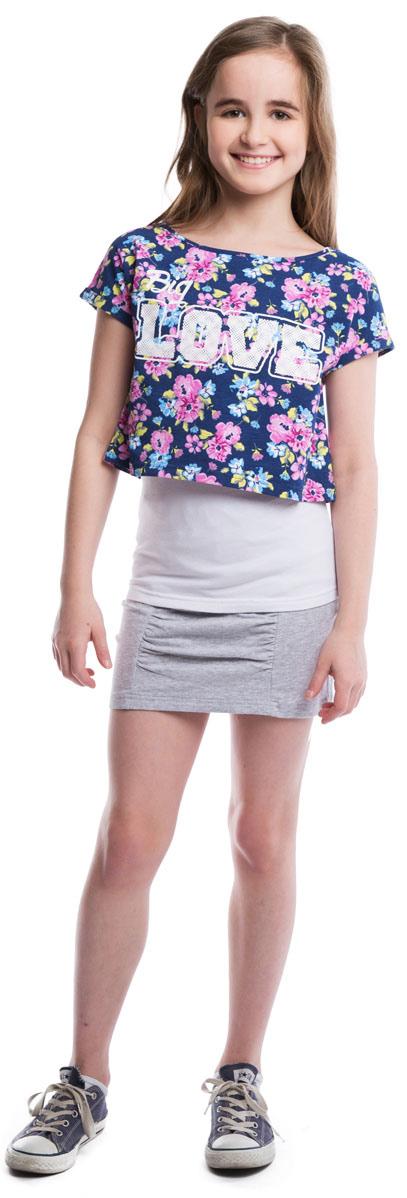 Комплект для девочки Scool: майка, топ, цвет: белый, синий, розовый. 264016. Размер 140264016Стильный комплект для девочки, состоящий из майки и топа, выполнен из эластичного хлопка. Майка - базовая, белого цвета, бретели регулируются по длине. Топ украшен нежным цветочным принтом и надписью. Цельнокройный рукав обеспечивает дополнительное удобство.
