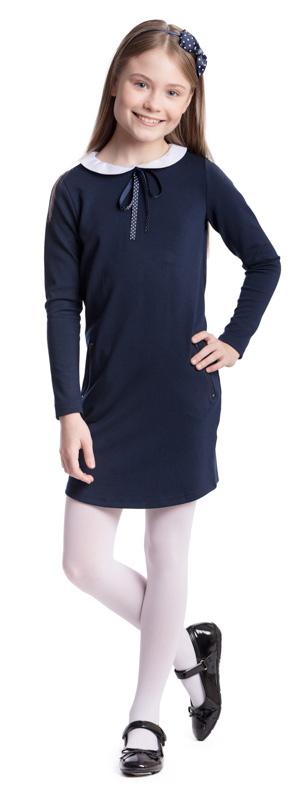 Платье для девочки Scool, цвет: темно-синий, белый. 374472. Размер 140, 10 лет374472Платье для девочки Scool выполнено из полиэстера, вискозы и эластана. Модель с круглым вырезом горловины и длинными рукавами застегивается сзади на молнию. Спереди расположены карманы с застежками-молниями. Платье дополнено съемным воротником на пуговицах. В качестве декора на изделии использован аккуратный бант из тонкой атласной ленты.