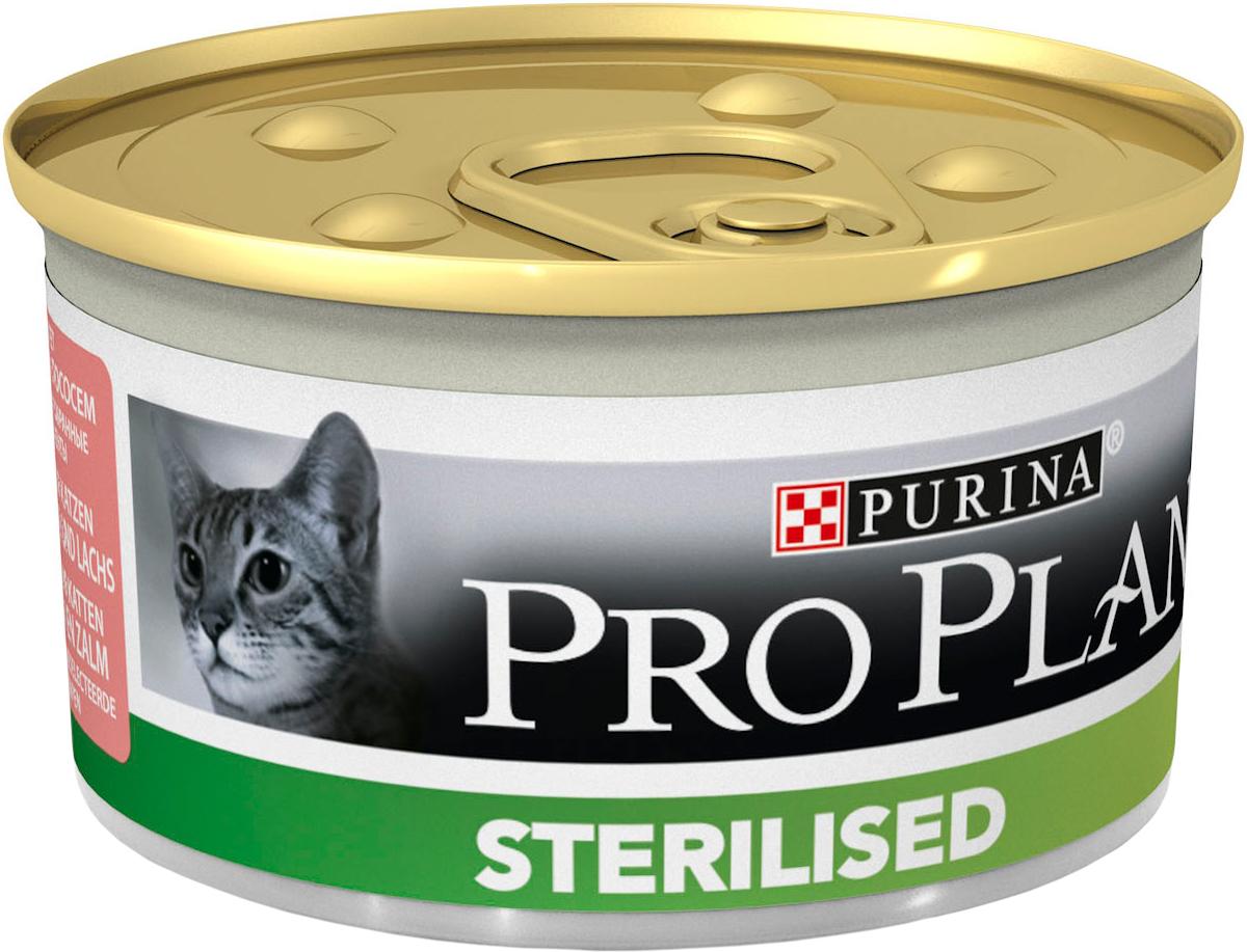 Консервы Pro Plan Sterilised для стерилизованных кошек и кастрированных котов, паштет с тунцом и лососем, 85 г консервы pro plan nutri savour для домашних кошек с лососем 85 г 24 шт