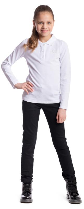Поло для девочки Scool, цвет: белый. 374506. Размер 140, 10 лет374506Поло для девочки Scool изготовлено из натурального хлопка. Свободный крой не сковывает движения ребенка. Аккуратные швы не вызывают раздражений. Модель с отложным воротником и длинными рукавами застегивается на пуговицы. Изделие декорировано небольшой аппликацией из стразов.