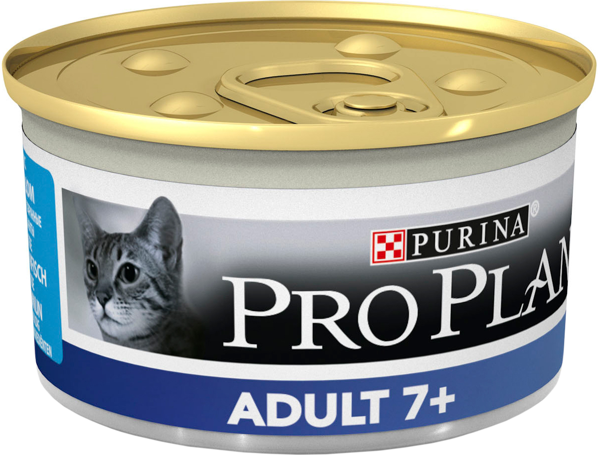 Консервы для пожилых кошек Pro Plan Adult 7+, мусс с тунцом, 85 г12171996Консервы для кошек Pro Plan Light - полнорационный консервированный корм для пожилых кошек старше 7 лет. Мусс с тунцом. Тщательно отобранные ингредиенты. Особенности: - помогает поддерживать основные жизненные функции (иммунную, почечную и пищеварительную), баланс микрофлоры кишечника для здорового пищеварения, - сбалансированное содержание минеральных веществ для здоровой мочевыводящей системы - подходит для кормления стерилизованных кошек и кастрированных котов.Состав: мясо и субпродукты, рыба и продукты переработки рыбы (из которых 4% тунец), овощи, масла и жиры, минеральные вещества, продукты переработки овощей, сахара. Добавленные вещества (на 1 кг): витамин А 1740 МЕ; витамин D3 245 МЕ; железо 16 мг, йод 0,59 мг; медь 1,5 мг; марганец 2,8 мг; цинк 40,4 мг; селен 0,032 мг. С консервантами. Гарантируемые показатели: влажность 75%, белок 10,2%, жир 9,4%, сырая зола 2,8%, сырая клетчатка 0,2%. Товар сертифицирован.