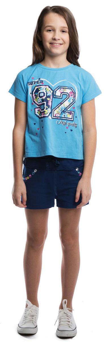Футболка для девочки Scool, цвет: голубой. 264015. Размер 152264015Мягкая укороченная футболка для жаркого лета с трикотажной резинкой на воротнике. Модель оформлена резиновым принтом с цветочным узором.