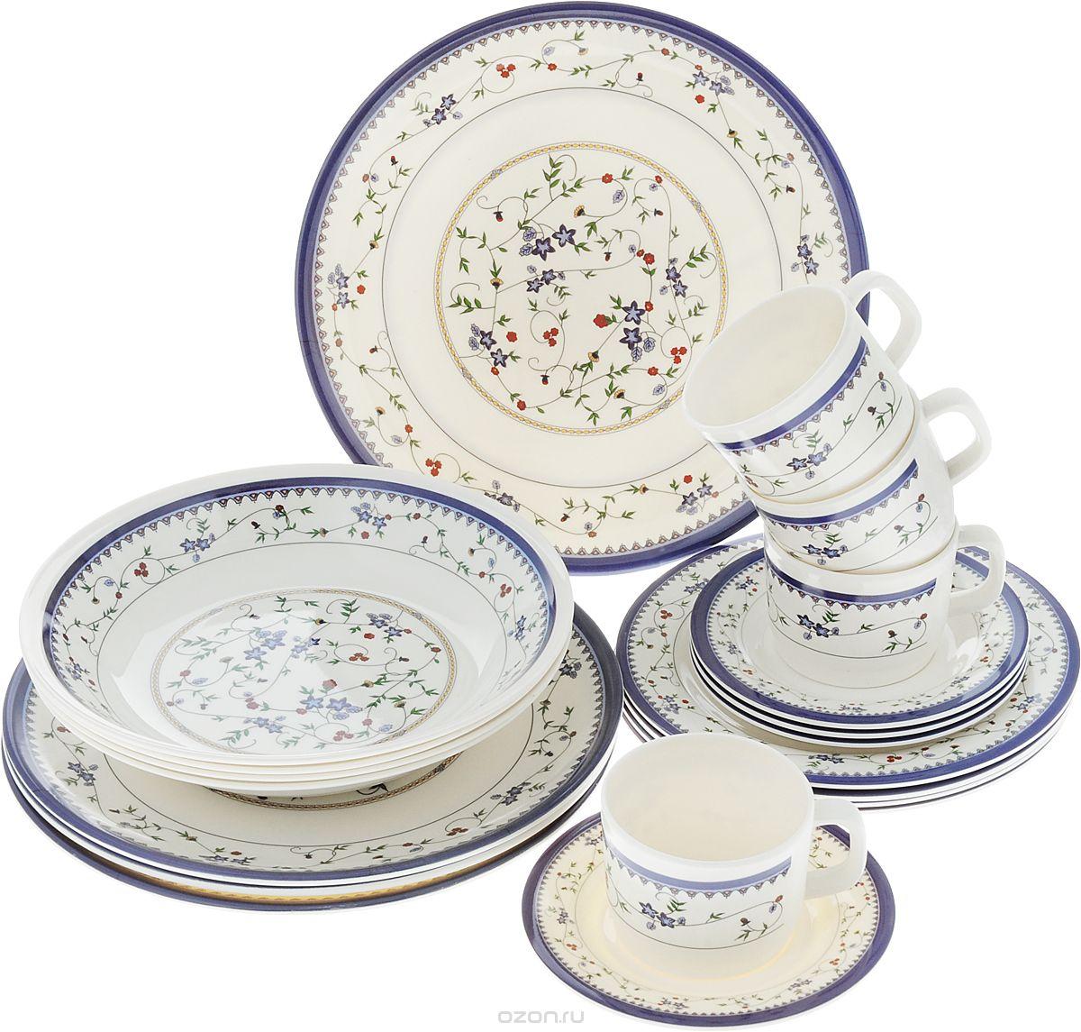 Набор столовой посуды Calve, 20 предметов. CL-2514CL-2514Набор Calve состоит из 4 суповых тарелок, 4 обеденныхтарелок, 4 десертных тарелок, 4 блюдец и 4 чашек. Изделия выполнены извысококачественного пластика, имеют яркий дизайн с изящным орнаментом. Посуда отличается прочностью,гигиеничностью и долгим сроком службы, она устойчива к появлению царапин. Такой набор прекрасно подойдет как для повседневного использования, так идля праздников или особенных случаев. Набор столовой посуды Calve - это не только яркий иполезный подарок для родных и близких, а также великолепное дизайнерскоерешение для вашей кухни или столовой. Диаметр суповой тарелки (по верхнему краю): 23 см. Высота суповой тарелки: 4,5 см.Диаметр обеденной тарелки (по верхнему краю): 26,5 см. Высота обеденной тарелки: 1,7 см. Диаметр десертной тарелки (по верхнему краю): 20 см. Высота десертной тарелки: 1,2 см. Диаметр блюдца (по верхнему краю): 14,6 см. Высота блюдца: 1,5 см.Объем чашки: 237 мл.Диаметр чашки (по верхнему краю): 8 см.Высота чашки: 6,5 см.