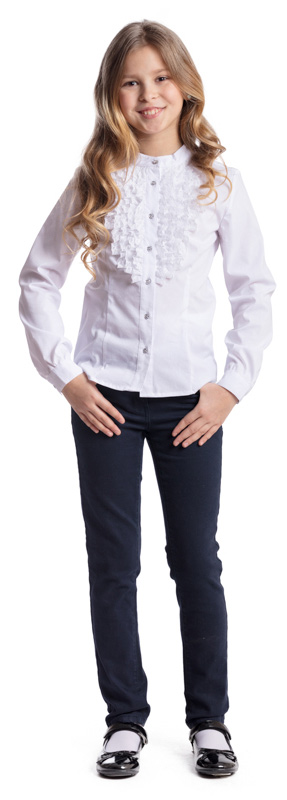 Блузка для девочки Scool, цвет: белый. 374450. Размер 146, 11 лет374450Блузка в классическом стиле Scool, выполненная из эластичного хлопка с добавлением полиэстера, станет отличным дополнением к школьному гардеробу. Блузка с воротником-стойкой и длинными рукавами застегивается на пуговицы. На рукавах предусмотрены манжеты. Модель декорирована рюшами.